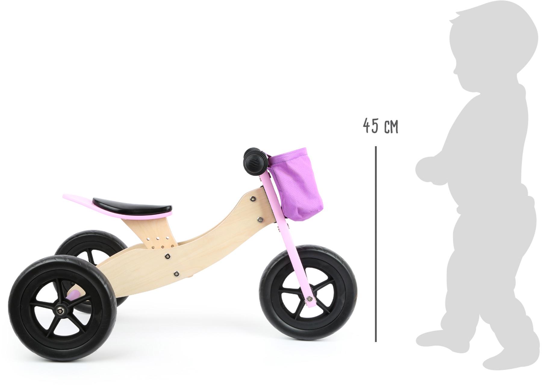 Small Foot Dřevěné odrážedlo Maxi 2 v 1 růžové