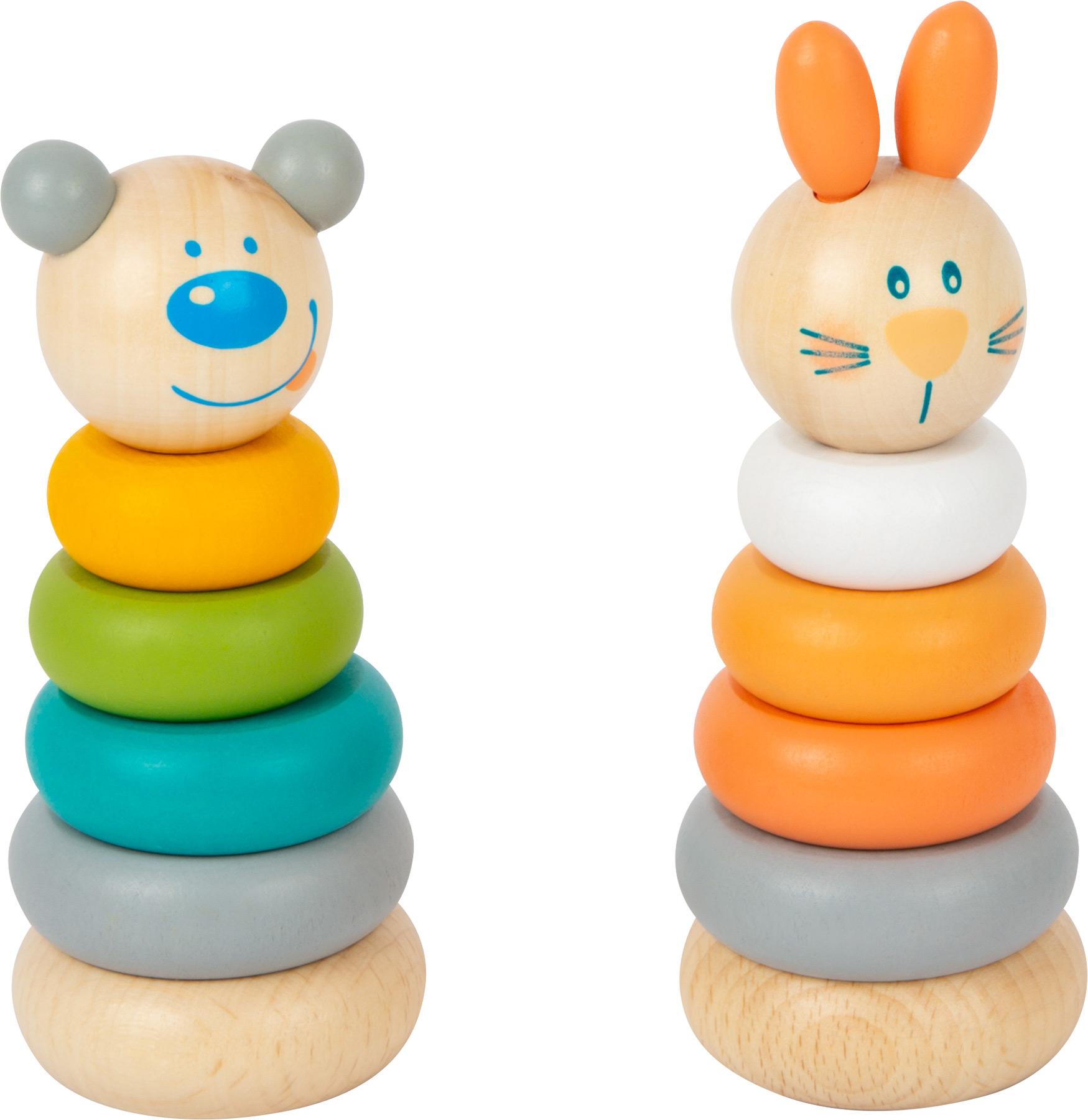 Small Foot Nasazovací věž pastelová 1 ks medvěd