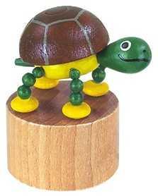 Dřevěné hračky -  dekorace - Mačkací figurka Želvička
