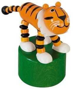 Dřevěné hračky -  dekorace - Mačkací figurka Tygr