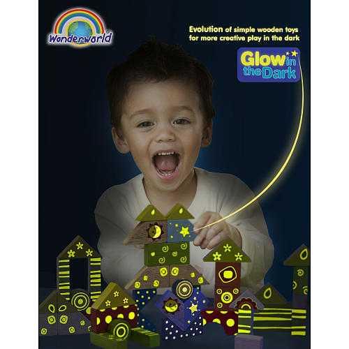 Dřevěné hračky - Kostky svítící ve tmě