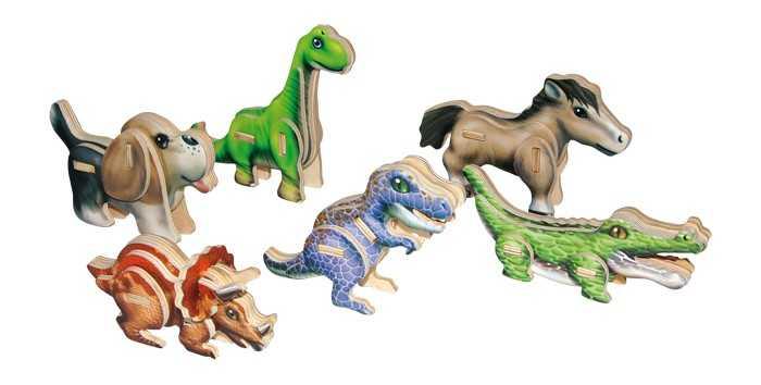 Small Foot Dřevěné 3D puzzle sada 6 ks dinosaurů