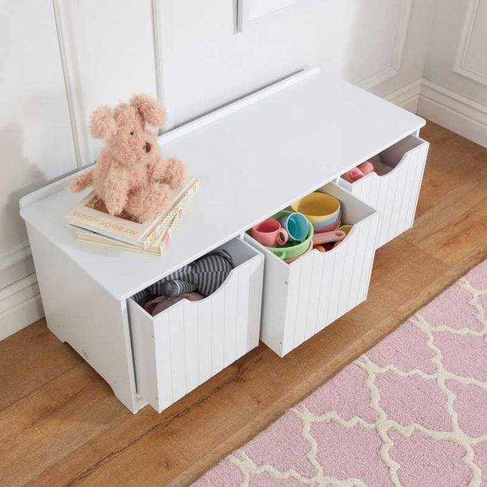 KidKraft Úložná lavice s boxy bílá