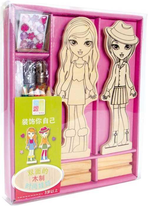 Dřevěná panenka k vymalování