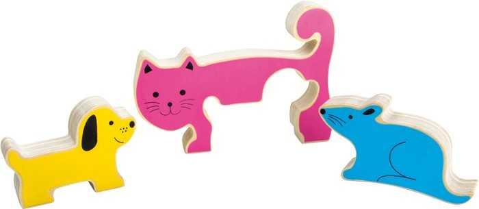 Dřevěné hračky - Dřevěné 3D Puzzle pes, kočka a myš