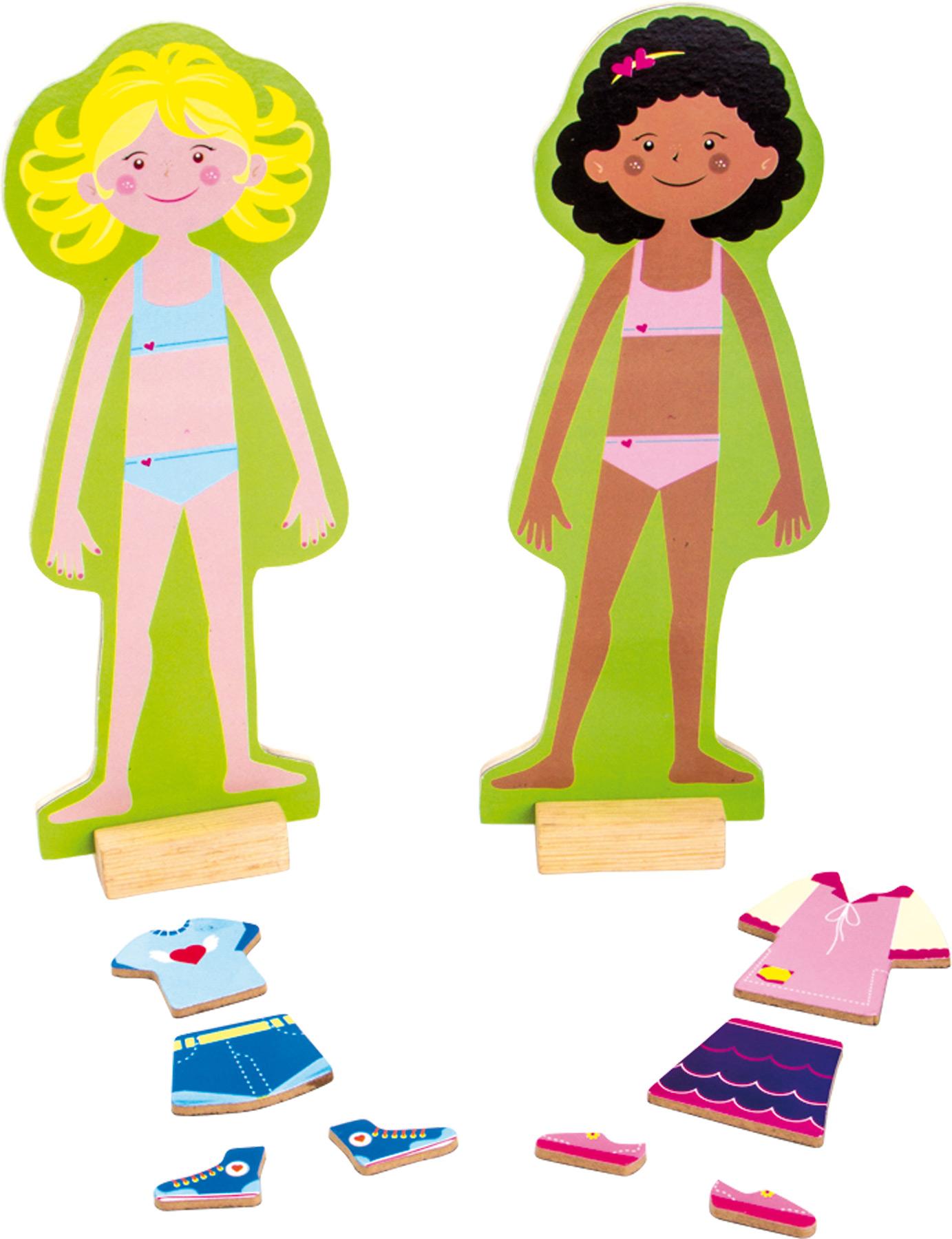 Small Foot Dřevěné oblékací magnetické puzzle dívky