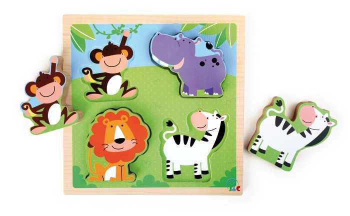 Dřevěná hračka - Puzzle zvířata zoologické zahrady