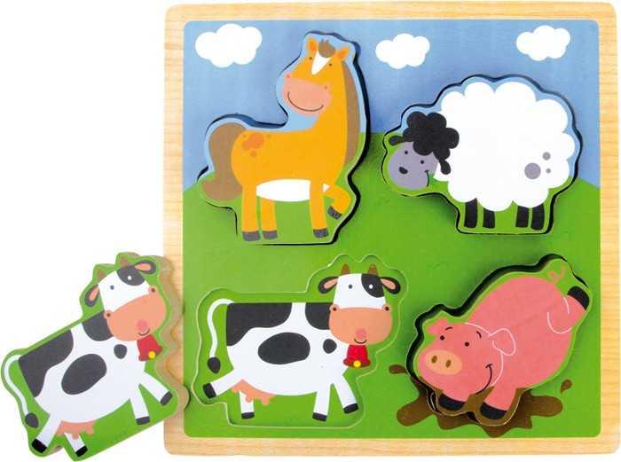 Dřevěná hračka - Puzzle Selský dvůr
