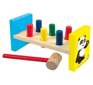 Bino Dřevěná zatloukačka Krtek a Panda