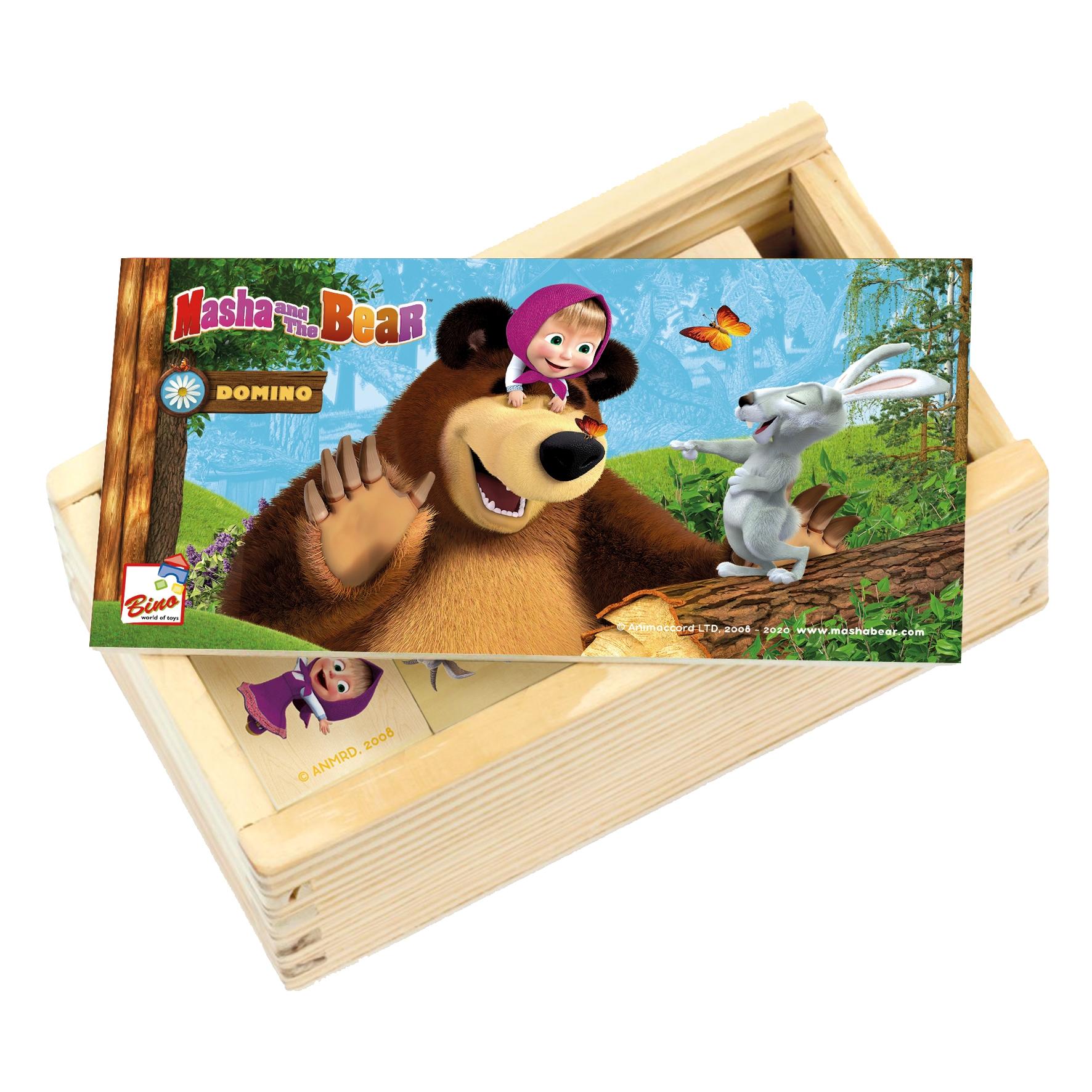 Bino Dřevěné domino Máša a medvěd
