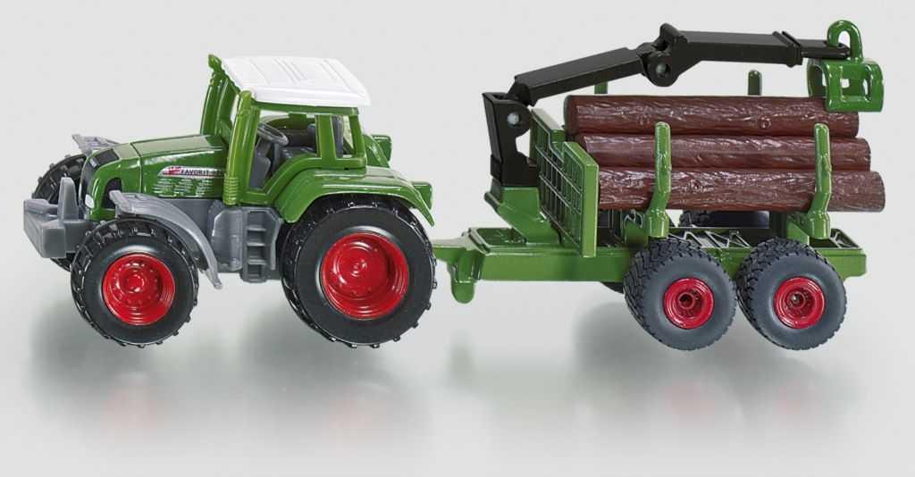 Kovový model - SIKU Blister - Traktor s přívěsem na kulatinu