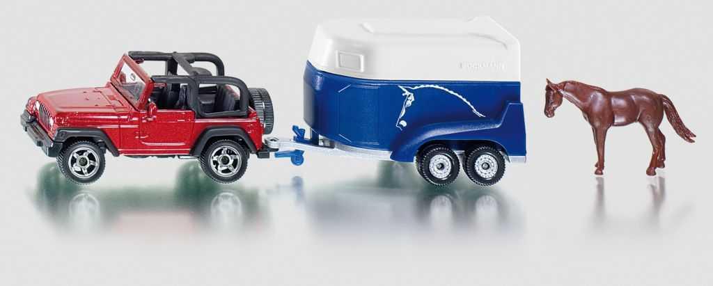 Kovový model - SIKU Blister - Terénní vůz s přívěsem a koněm