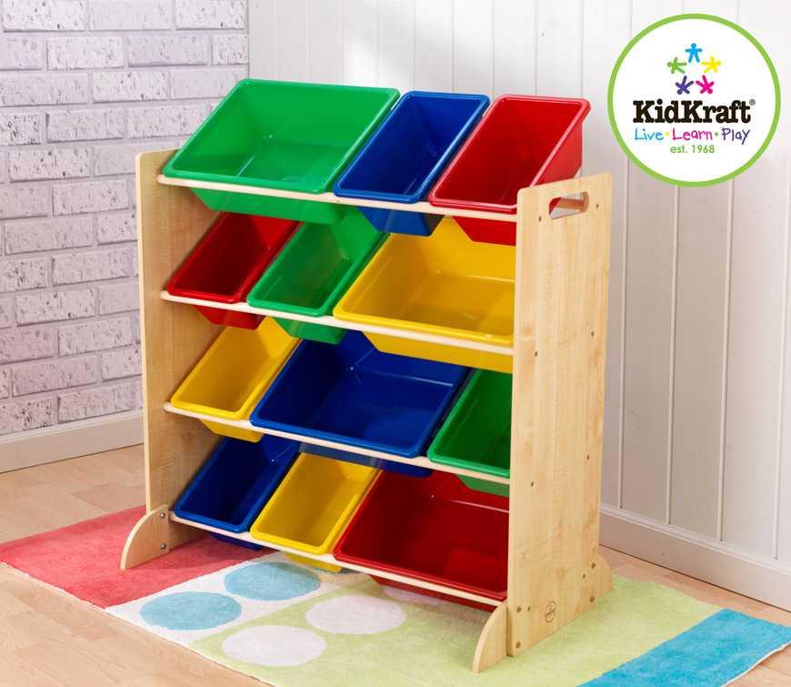 KidKraft barevná polička s úložnými boxy