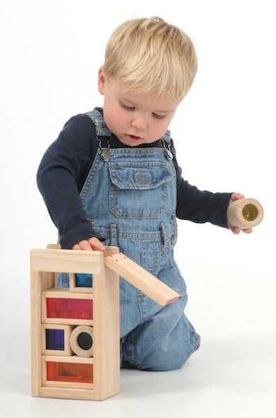 Dřevěné hračky - Dřevěné chrasticí duhové kostky