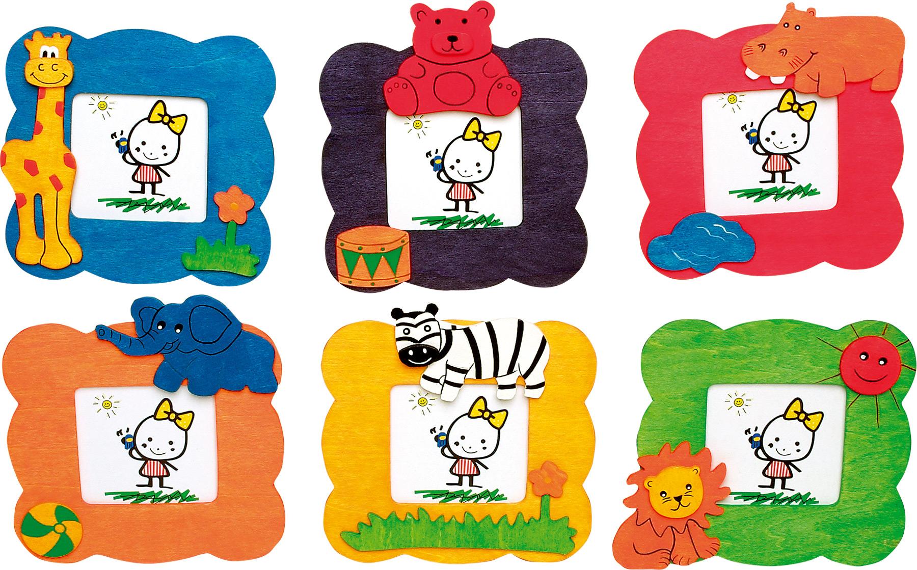 Dřevěné dekorace - Foto rámeček Zvířata 1ks