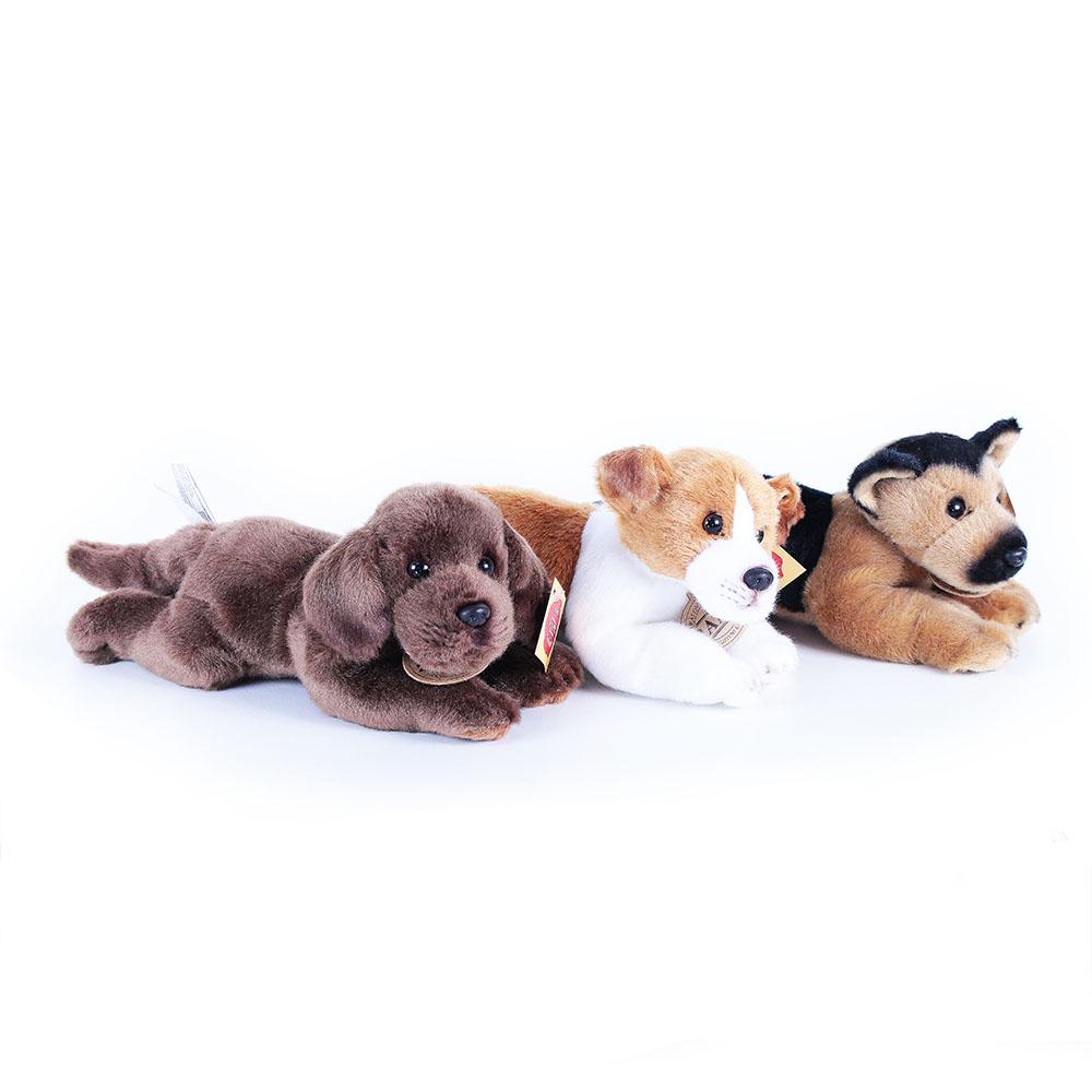 Rappa Plyšový pes 3 druhy ležící se zvukem Jack Russel Labrador a Německý Ovčák 18cm