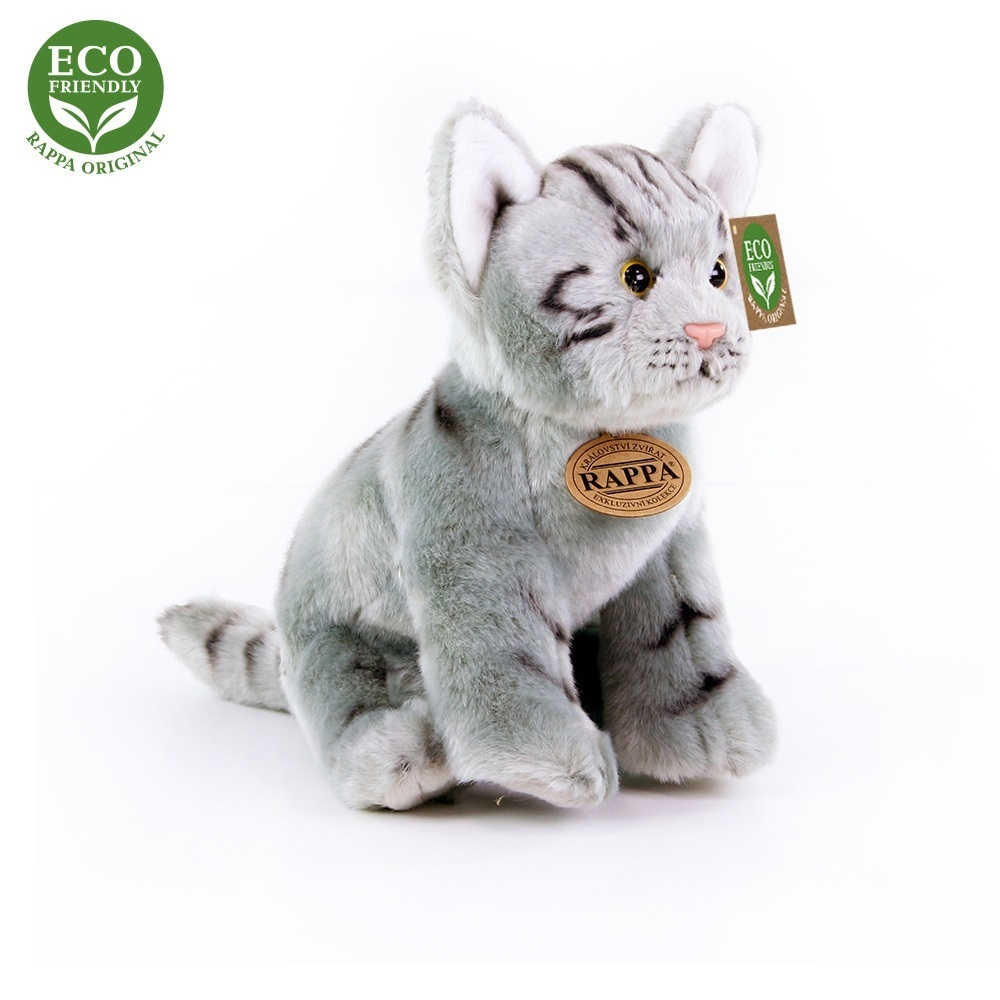 Rappa Plyšová kočka šedá sedící 24 cm ECO-FRIENDLY