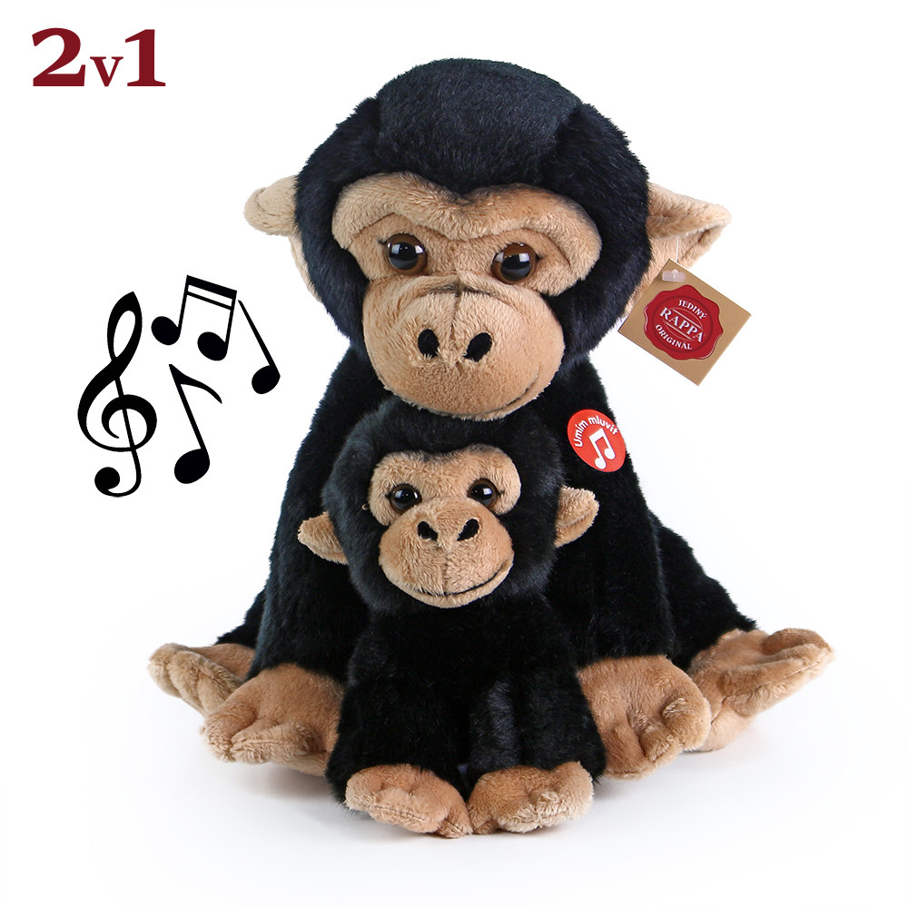 Rappa Plyšová opice sedící s mládětem se zvukem 27 cm