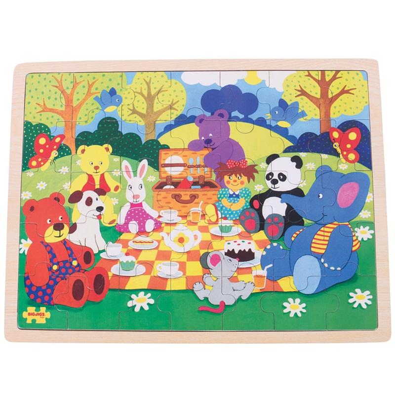 Bigjigs Toys Dřevěné puzzle piknik v parku 35 dílků