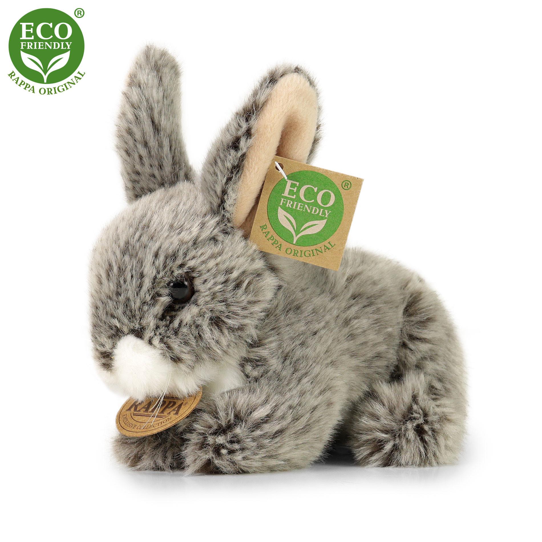 Rappa Plyšový králík tmavě šedý ležící 17 cm ECO-FRIENDLY