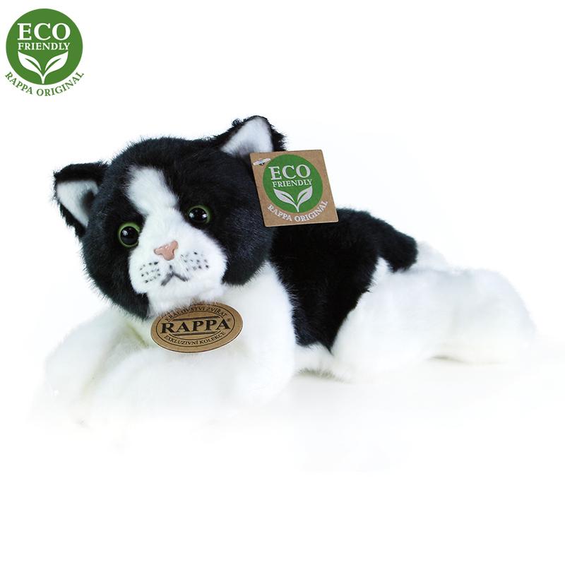 Rappa Plyšová kočka bílo-černá ležící 16 cm ECO-FRIENDLY