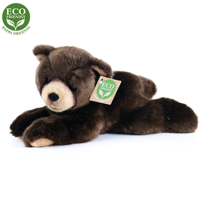 Rappa Plyšový medvěd tmavě hnědý ležící 15 cm ECO-FRIENDLY