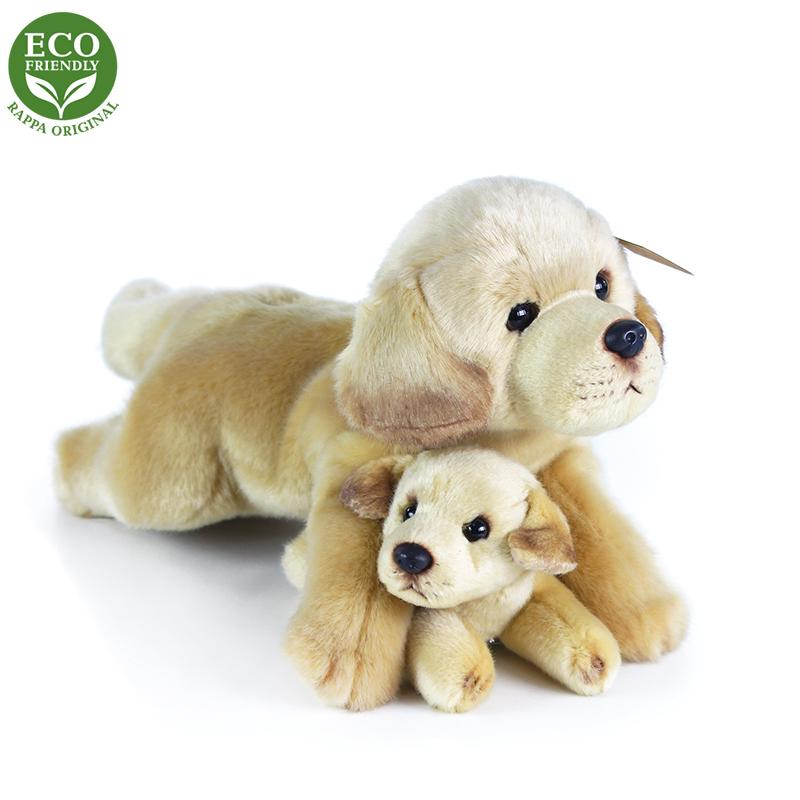 Rappa Plyšový labrador s miminkem ležící 25 cm ECO-FRIENDLY
