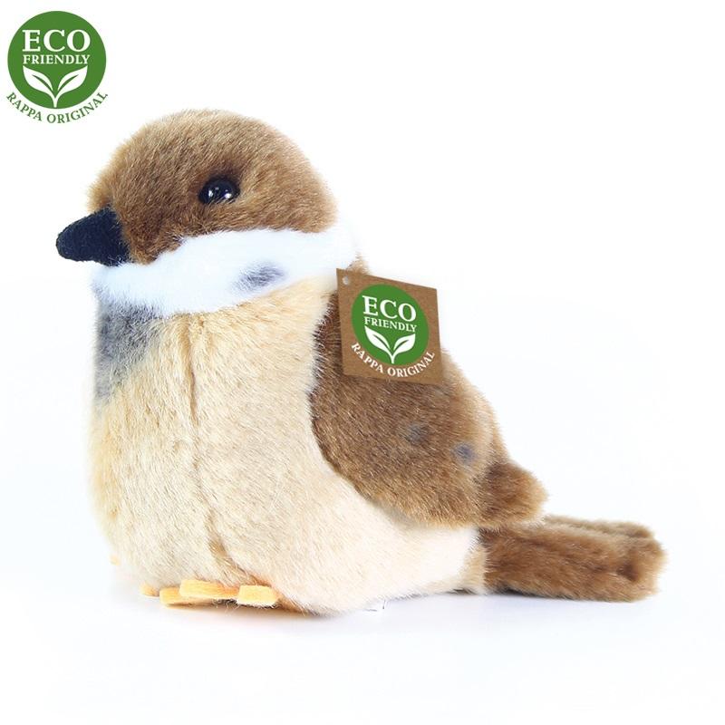 Rappa Plyšový pták vrabec stojící 13 cm ECO-FRIENDLY