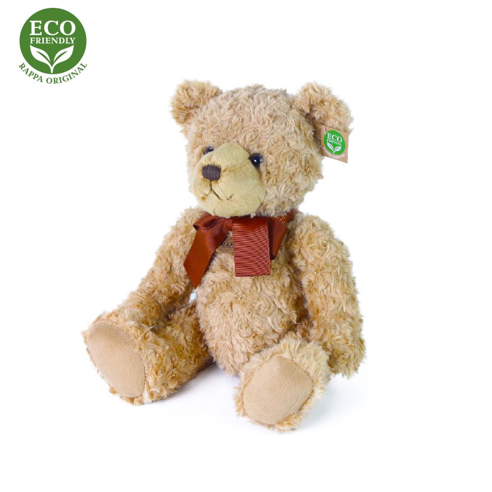 Rappa Plyšový medvěd retro s mašlí sedící 30 cm ECO-FRIENDLY