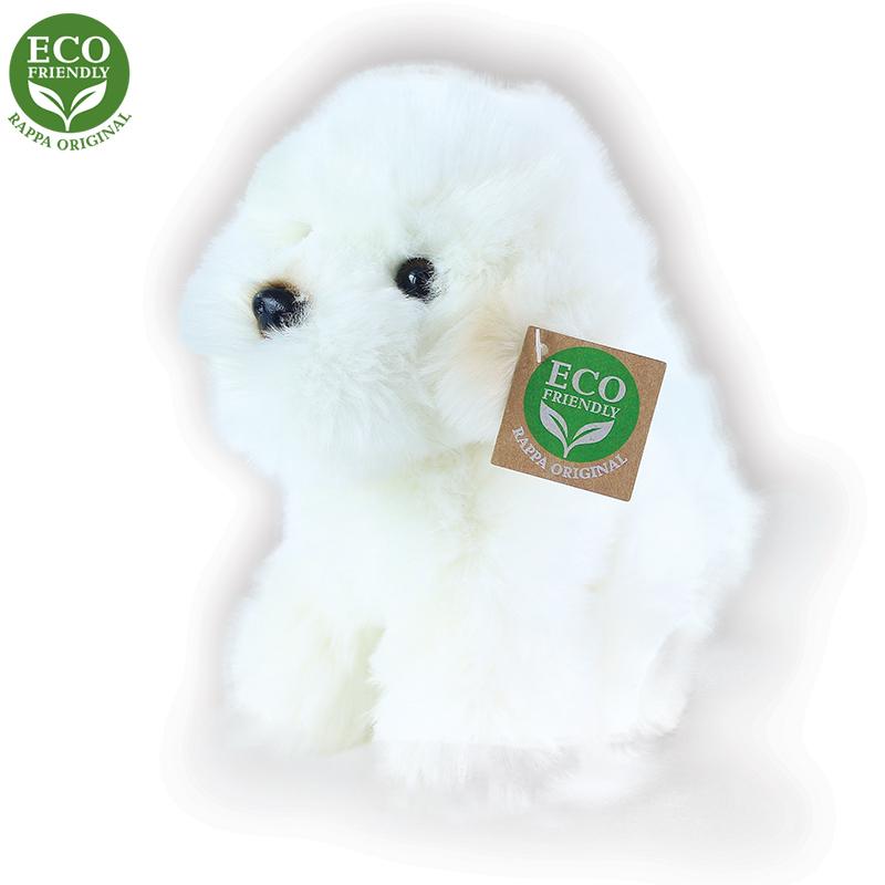 Rappa Plyšový pes bišon sedící 18 cm ECO-FRIENDLY