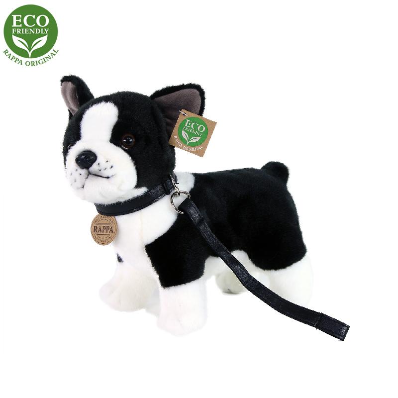 Rappa Plyšový pes francouzský buldoček s vodítkem stojící 23 cm ECO-FRIENDLY