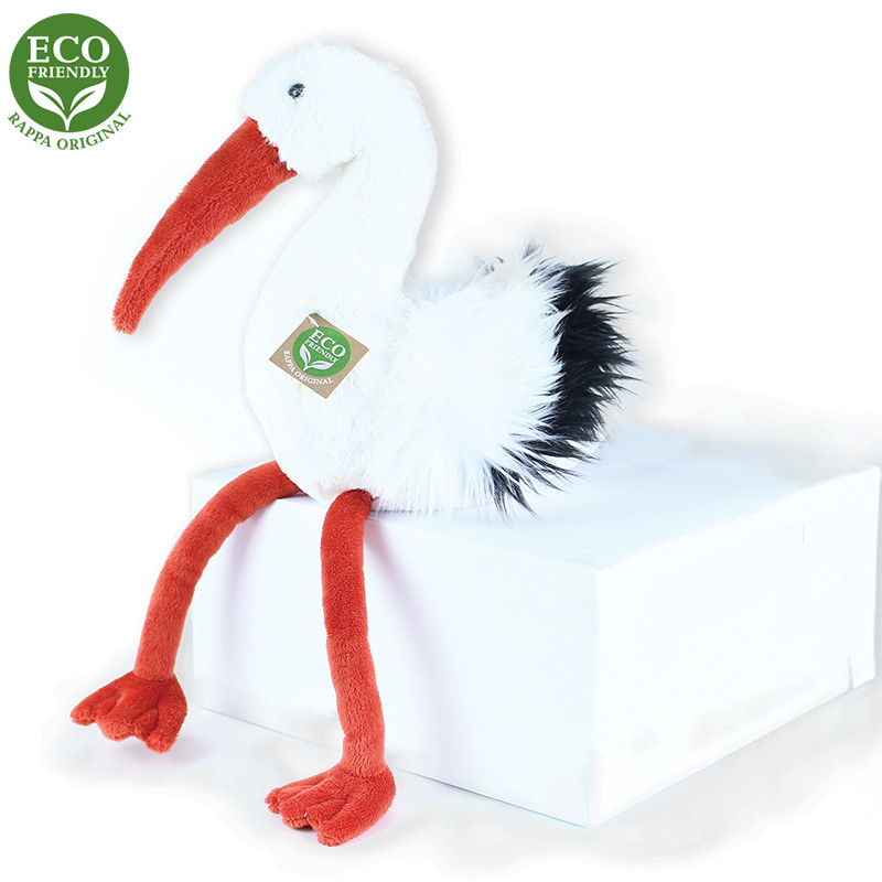 Rappa Plyšový pták čáp 39 cm ECO-FRIENDLY