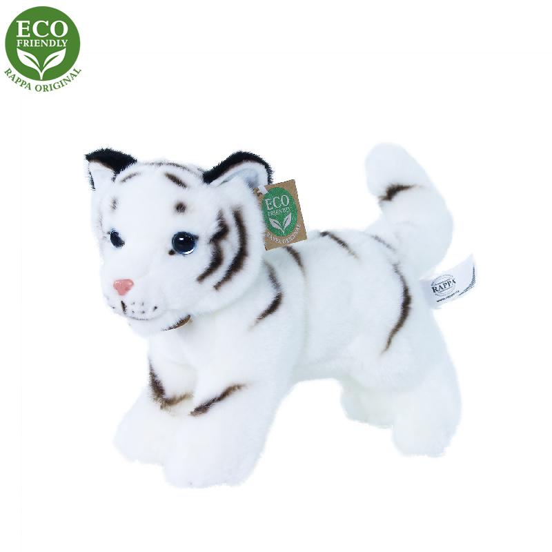 Rappa Plyšový tygr bílý mládě stojící s tvarovatelnými končetinami 22 cm ECO-FRIENDLY