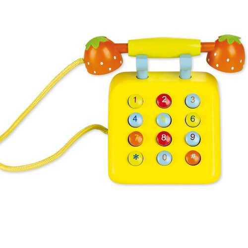 Classic world  Dřevěný žlutý telefon