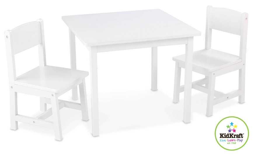 KidKraft dětský stůl se dvěma židličkami bílý
