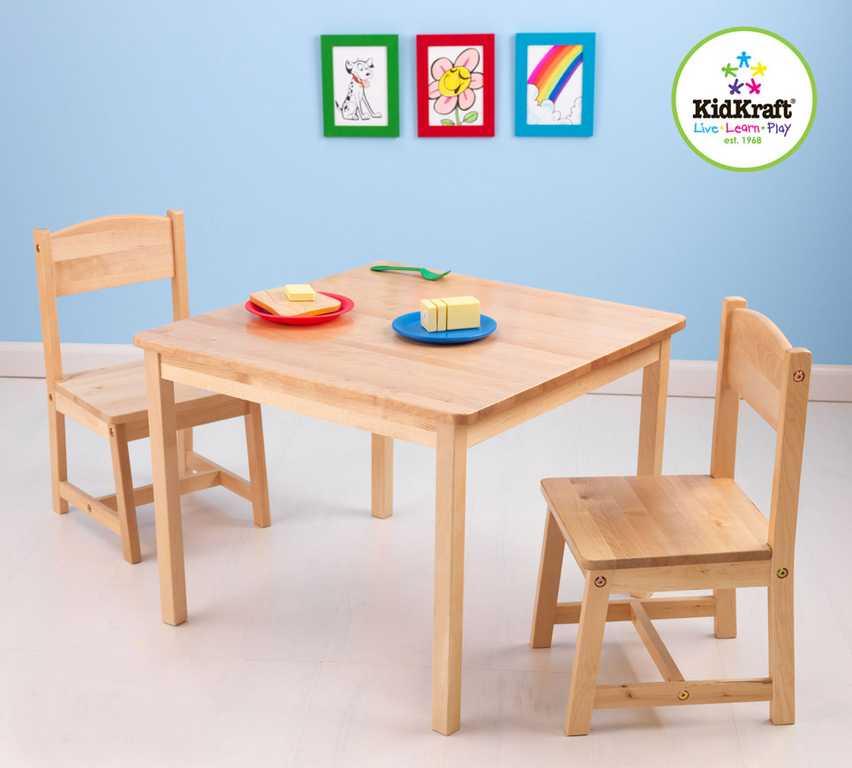 KidKraft dětský stůl se dvěma židličkami natural
