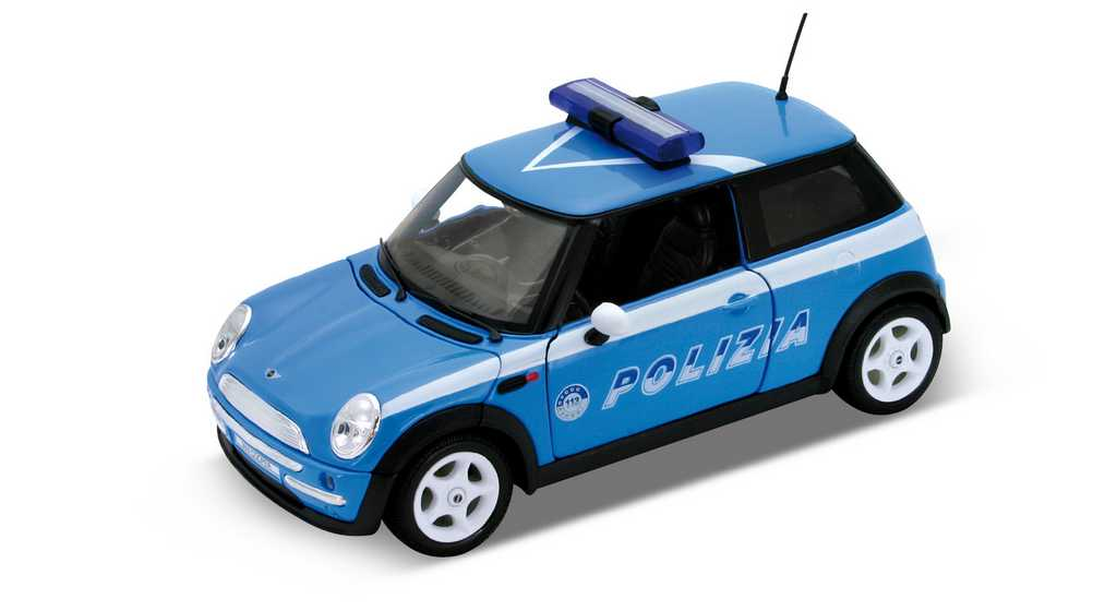 Welly - Mini Cooper Policie 1:24 modrá