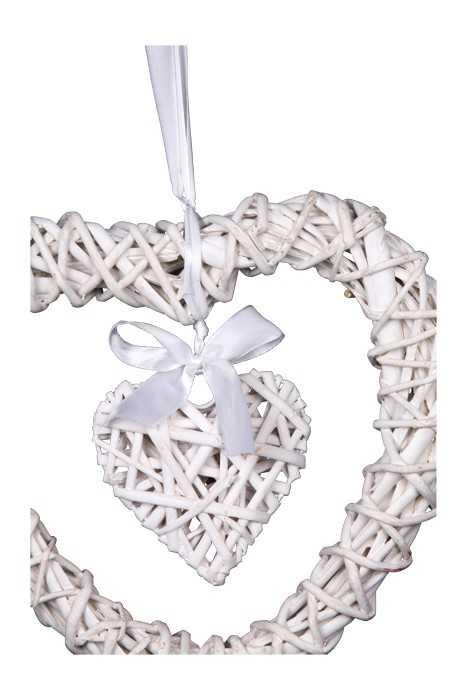 Bytové dekorace - Dekorace Proutěné srdce Michele