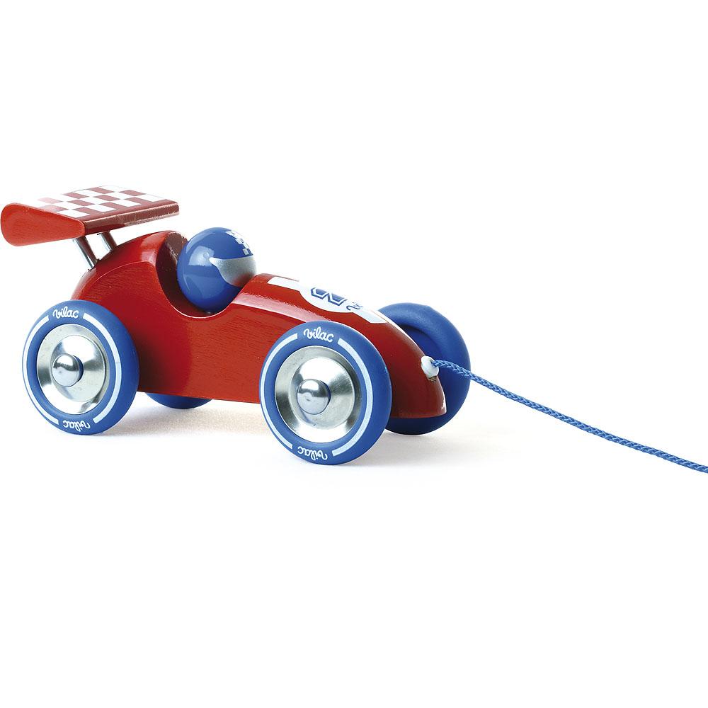 Vilac Tahací závodní auto červené s červeným křídlemo