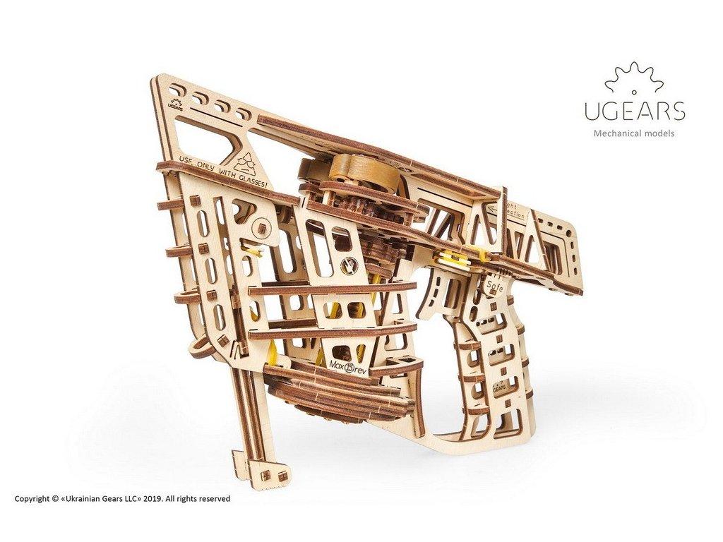 Ugears 3D dřevěné mechanické puzzle Vystřelovací letadlo