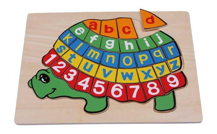 Small Foot Dřevěné hračky písmenkové puzzle želva