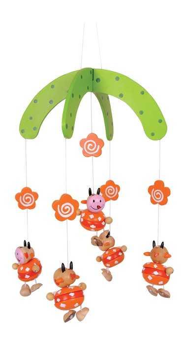 Dřevěné hračky pro nejmenší - Závěsný kolotoč Kravičky