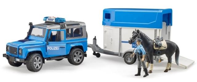 Bruder Policejní Land Rover s přepravníkem na koně a policistou
