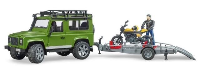 Bruder Land Rover s přívěsem, motorkou a figurkou měřítko: 1:16