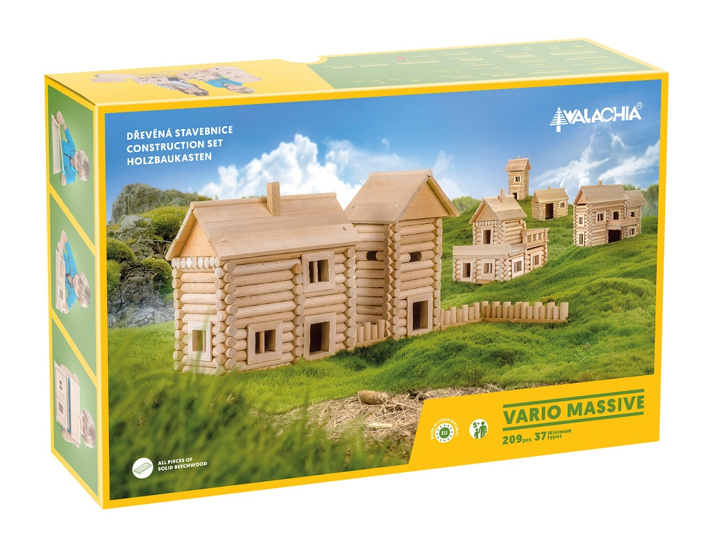 Walachia Dřevěná stavebnice Vario Massive 209 dílů