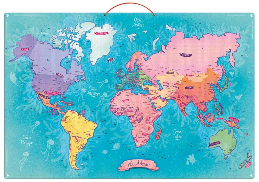 Vilac - Nástěnná magnetická mapa světa 65 dílků