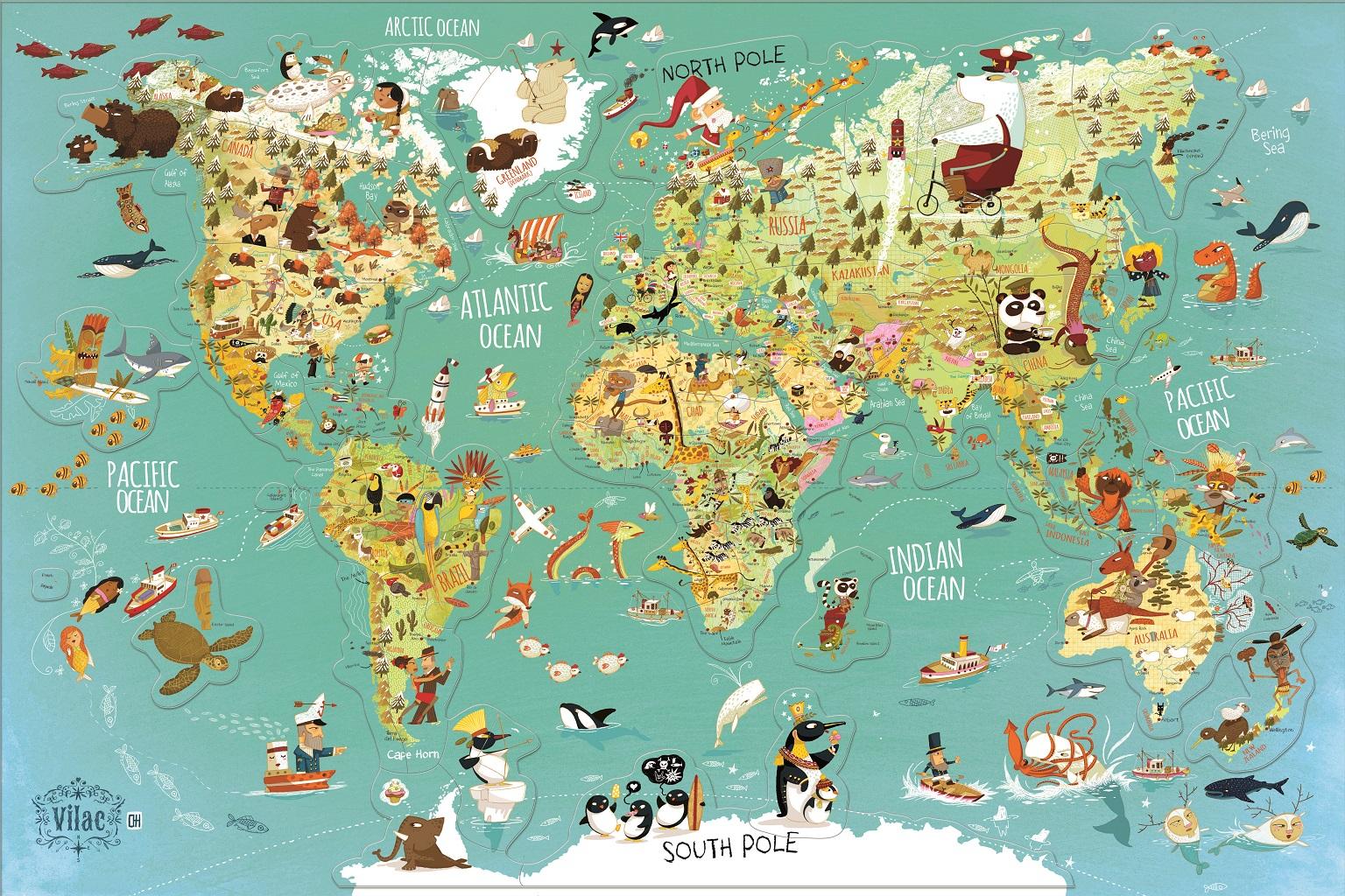 Vilac Nástěnná magnetická mapa světa