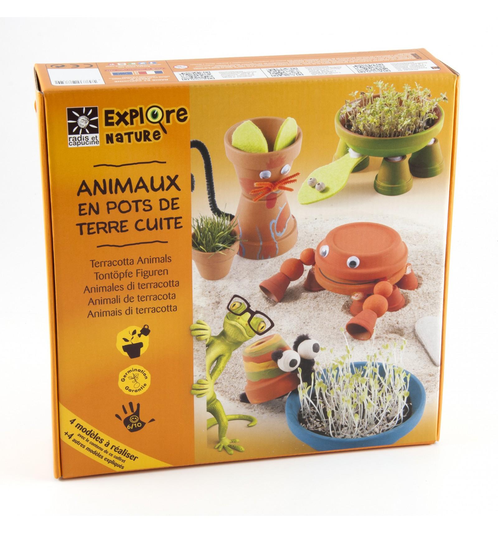Mini zahrádka - Veselý box s květináčky - zvířata