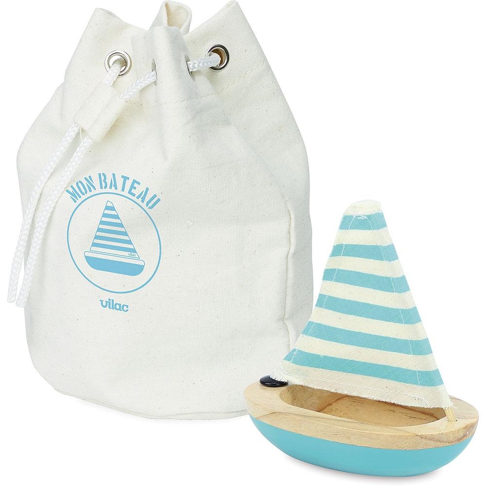 Vilac Dřevěná malá  plachetnice modrá