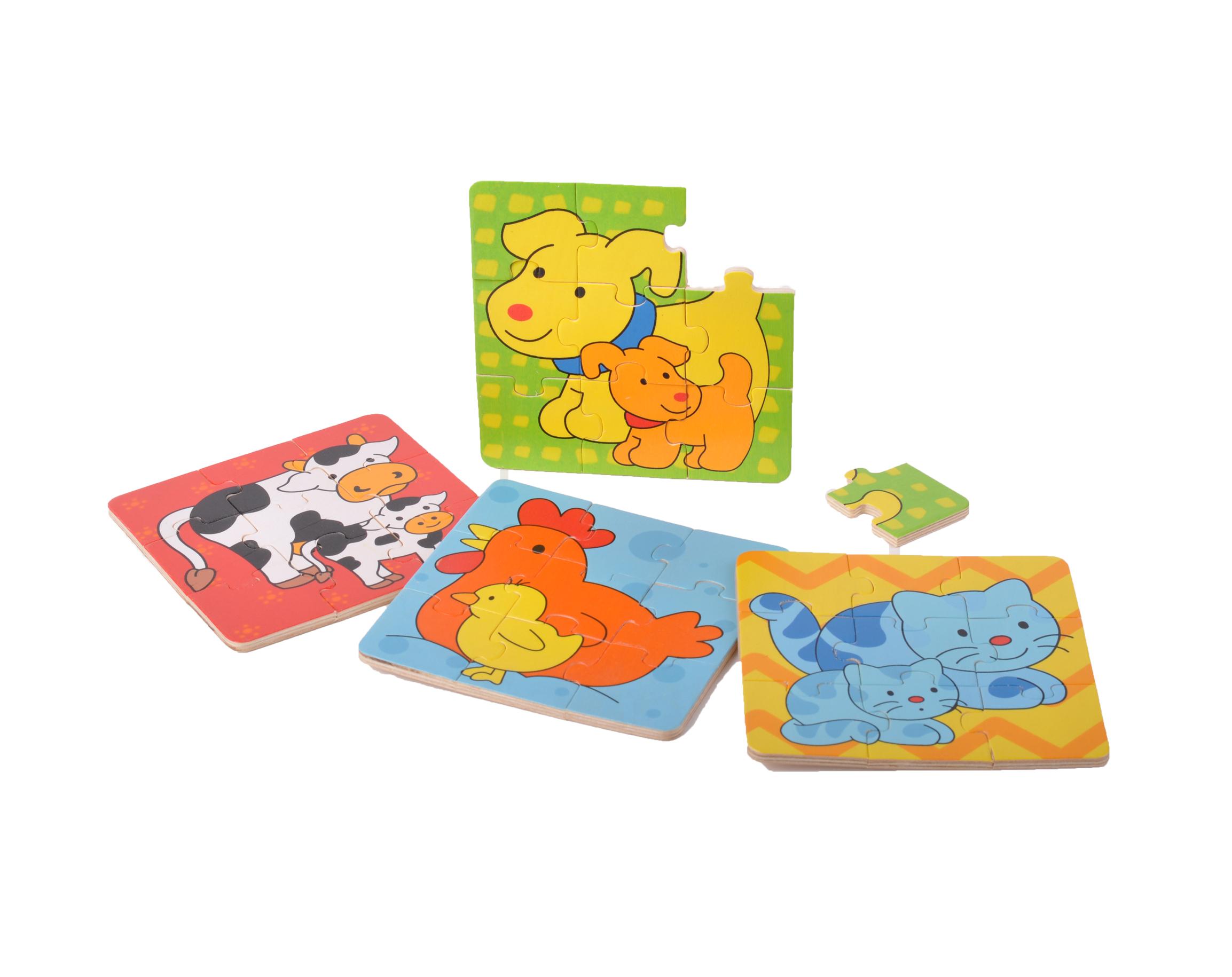 Dřevěné puzzle Zvířátka v krabičce 4x9 ks pejsek